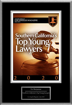 Southern California's Top Young Lawyers 2020 award as published in Los Angeles Magazine given to Vic Merjanian