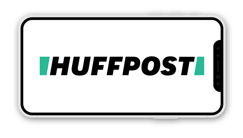 HUFFPOST logo | The Huffington Post logo on iPhone X screen