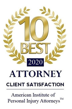 10 Best Attorney logo 2020, Client Satisfaction Award from American Institute of Personal Injury Attorneys